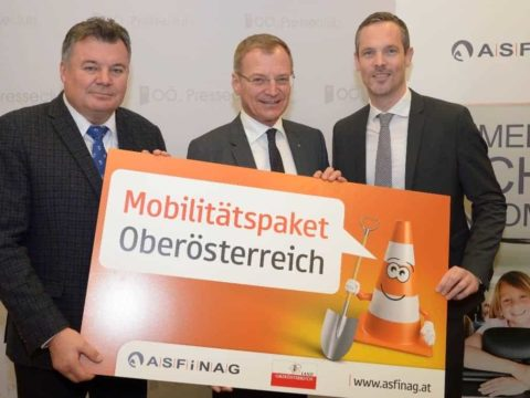 Mobilitätspaket für OÖ: Landesrat Mag. Günther Steinkellner, Landeshauptmann Mag. Thomas Stelzer, ASFINAG-Vorstand Mag. Hartwig Hufnagl