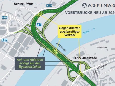 Neue Bypassbrücken in Linz auf Stadtplan visualisiert.