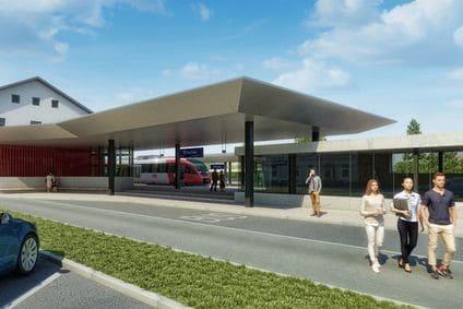 Bahnhof Braunau wird modernisiert: Visualisierung des neuen Bahnhofs mit mehr Parkplätzen.