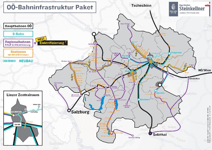 Regionalbahnen sind wichtige Öffis: Das OÖ-Bahninfrastruktur Paket mit Bahnliniennetz auf Karte.