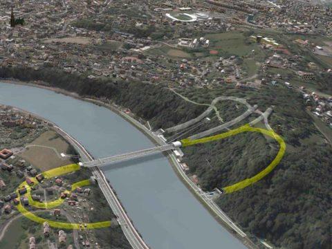 Sicht auf die Donaubrücke A26 aus der Vogelperspektive